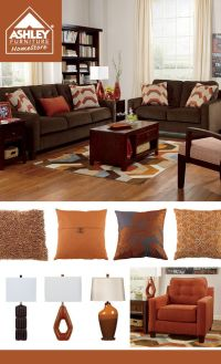Brown Living Room With Orange Accents