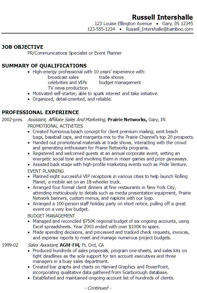 resume summary examples event planning
