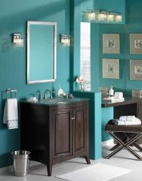 Turquoise bathroom? Will I need to paint my cabinets