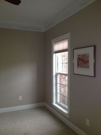 New color walls. Behr's perfect taupe. It's a little on ...
