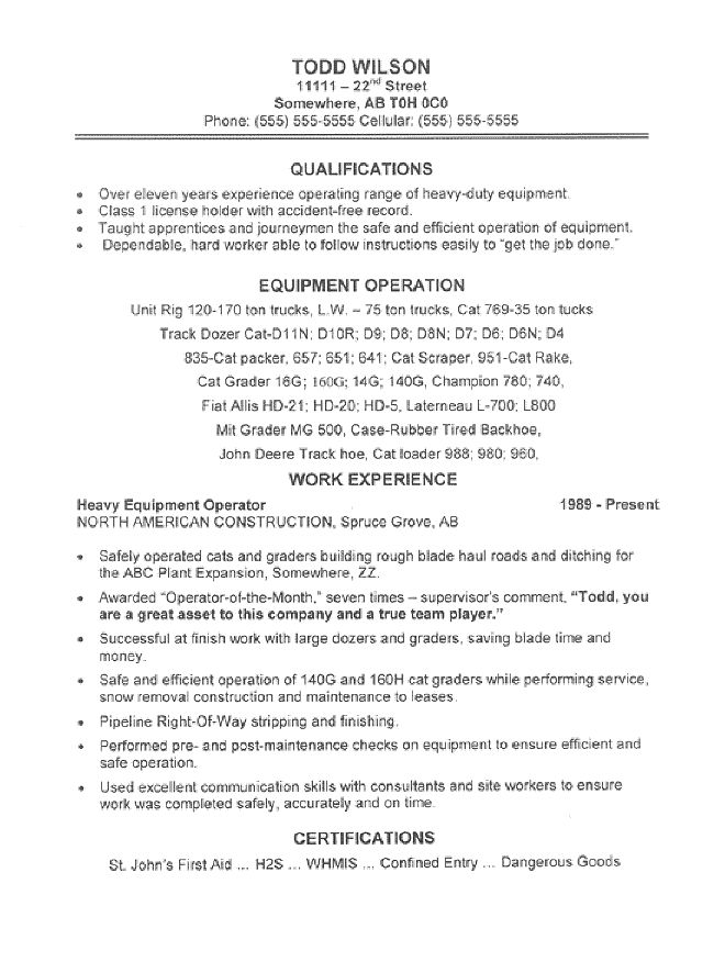 experience machine operator resume sample