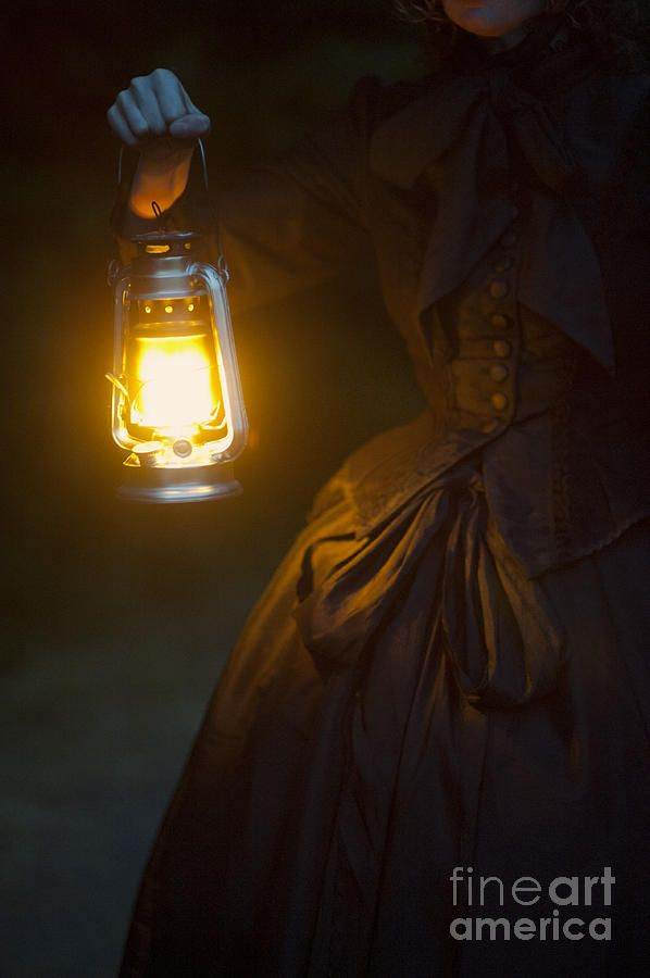 Oil Lamp Vs Lantern Victorian Woman Holding A Hurricane Lamp Photograph