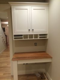 custom built in desk in kitchen, cherry top