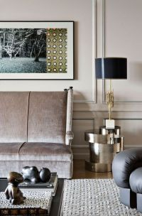 dusty mauve living room with crushed velvet sofa and ...