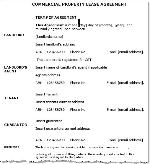 House Lease Agreement Example Property Lease Templates Rental - property lease agreement sample