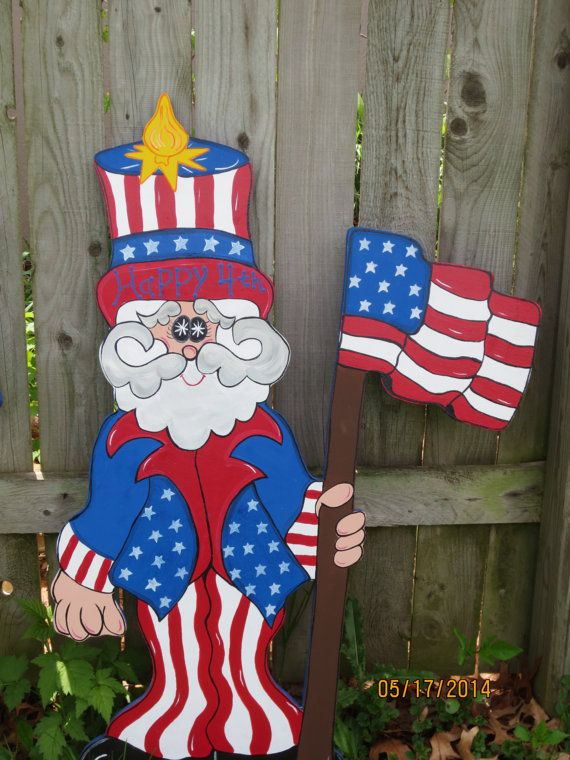 Birthday Cake Uncle Uncle Sammy 4th Of July Decor, Patriotic Wood Outdoor Yard