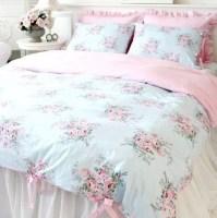 Shabby and Elegant Blue Rose/pink Gingham 4pc Bedding Set ...