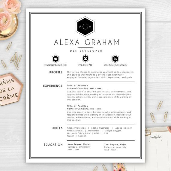 monogram resume template professional by