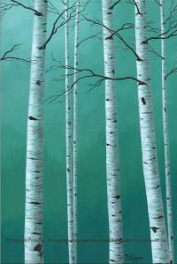 Large birch tree canvas print for your gray and teal home ...