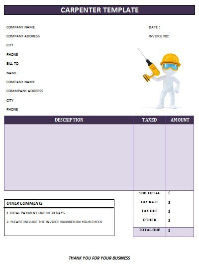 carpenter invoice template - 28 images - 25 professional carpenter - carpenter invoice template