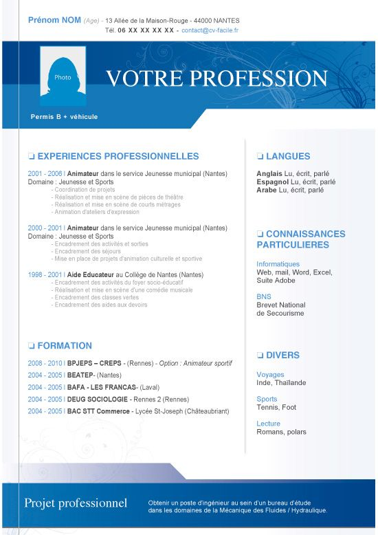 cv exemple original gratuit word