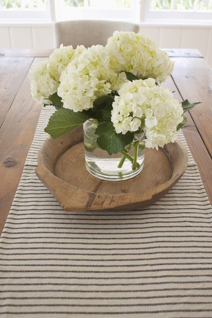 dining room table centerpieces the kitchen table Nothing like a big hydrangea bunch on the table top