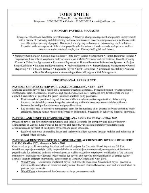 payroll coordinator resume template