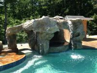 Backyard #grotto design with #waterfall and #jacuzzi www