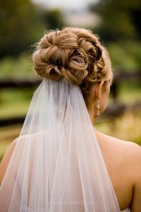 Jewel Hair Design-High curled updo with veil at bottom www ...