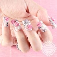Japanese 3D Nail Art, Press On Nails, False Nails - White ...
