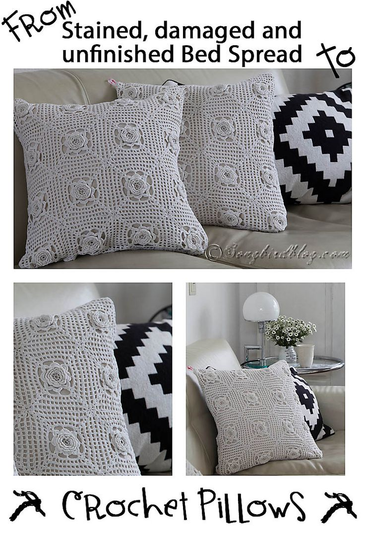 Handmade crochet pillows from a vintage granny blanket find them at www etsy