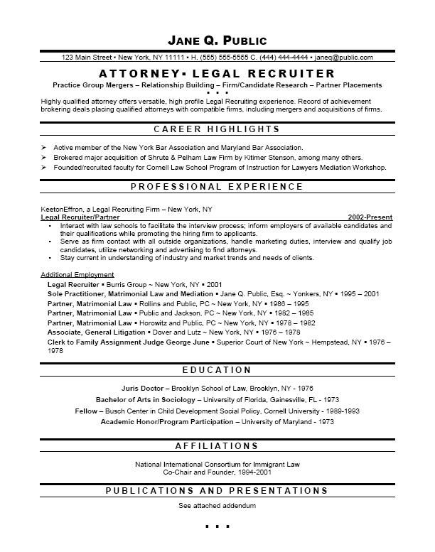 resume attorney recruiting example
