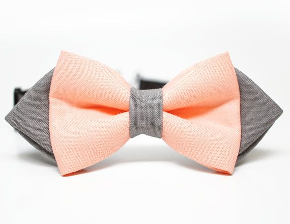 Peach and Charcoal Gray bow tie