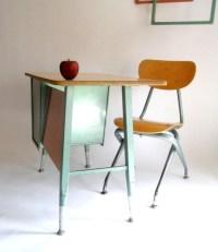 K - 4 Retro Mid Century School Desk and Chair. Turquoise ...