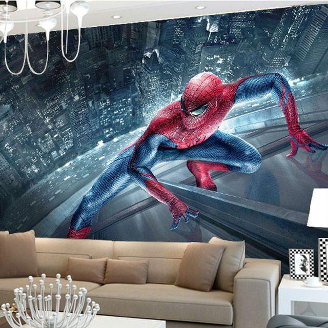 Dc Superhero Girls Bedroom Wallpaper Marvel Spiderman Kids Boys Children Photo Wallpaper Custom
