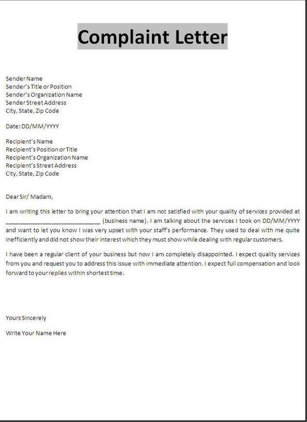 Sample Templates Tenant Complaint Letter Tenant Complaint Letter Is From
