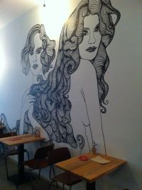 New coffee place! | Hand drawn wall-painting at Bedford ...