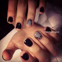 Super short nail design with black and gray gel colors ...
