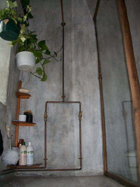 Real Rose In Water Globe Simple Exposed Copper Pipe Shower With Concrete Walls