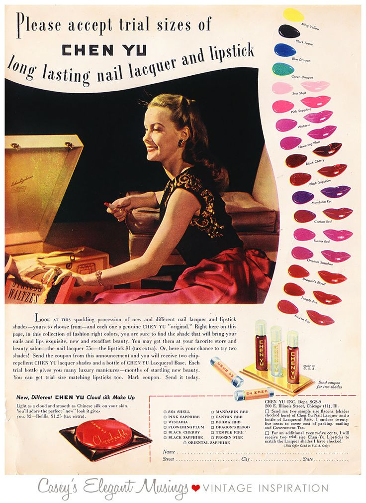 Vintage Ad From The 4039s Check Out The Nail Colors At The