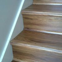 Luxury vinyl wood planks on stairs