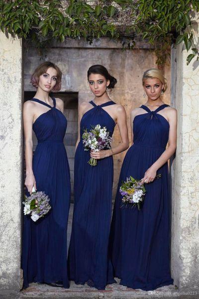 2016 Royal Blue Chiffon Bridesmaid Dresses New Halter Long ...