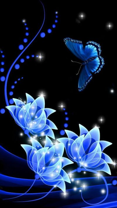 iphone wallpapers background lock screens - blue butterfly on blue roses | phone wallpaper ...