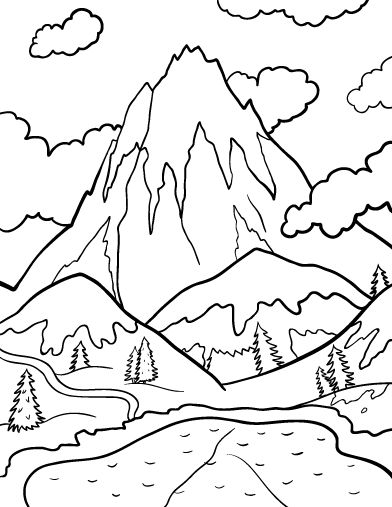 mountain coloring sheet mountain coloring page children