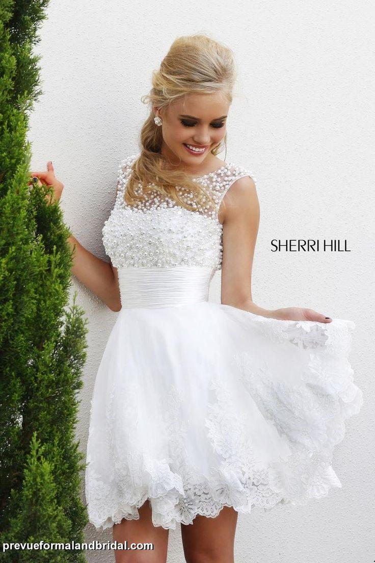 wedding reception dress reception wedding dress Short white SherriHill dress Pearls along the neckline Short white dress