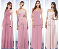 bridesmaids' dresses. All chiffon, dusty rose color except ...