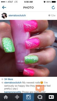 Hot pink and lime green nails | Nails | Pinterest | Green ...