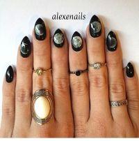 Black Moon Phase Almond Shaped Nails | Nails | Pinterest ...
