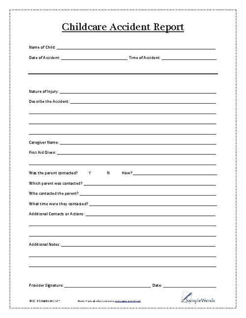 childcare incident report template