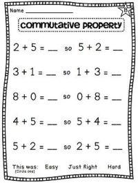First Grade Math Unit 7   Commutative property, First ...