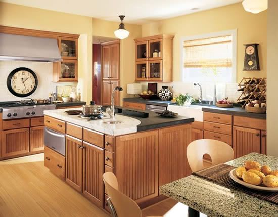 Yellow Kitchen With Dark Brown Cabinets Flooring: Red Oak Natural (?) W/ Yellow Walls And Medium