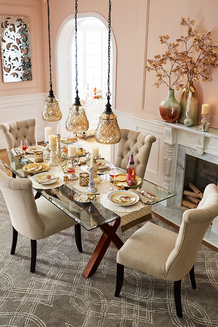 Elegant touches add up to a thanksgiving dinner that dazzles start with pier 1 s bennett glass dining tabledining