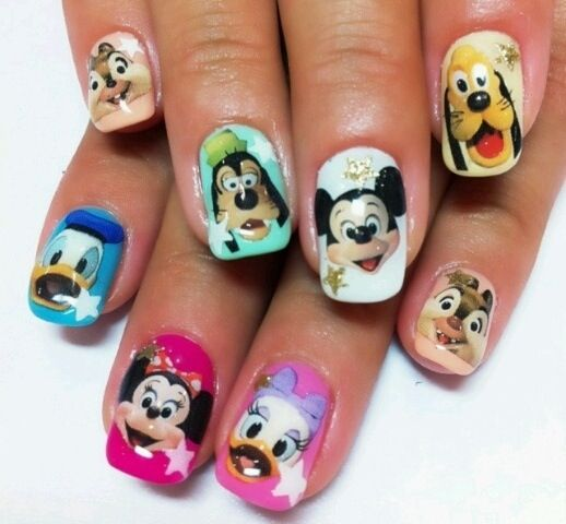 disney characters nail art