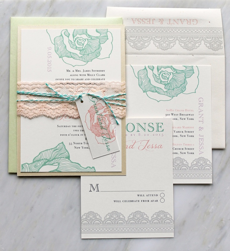 Lace Wedding Invitations Mint Lilac Peach Wedding