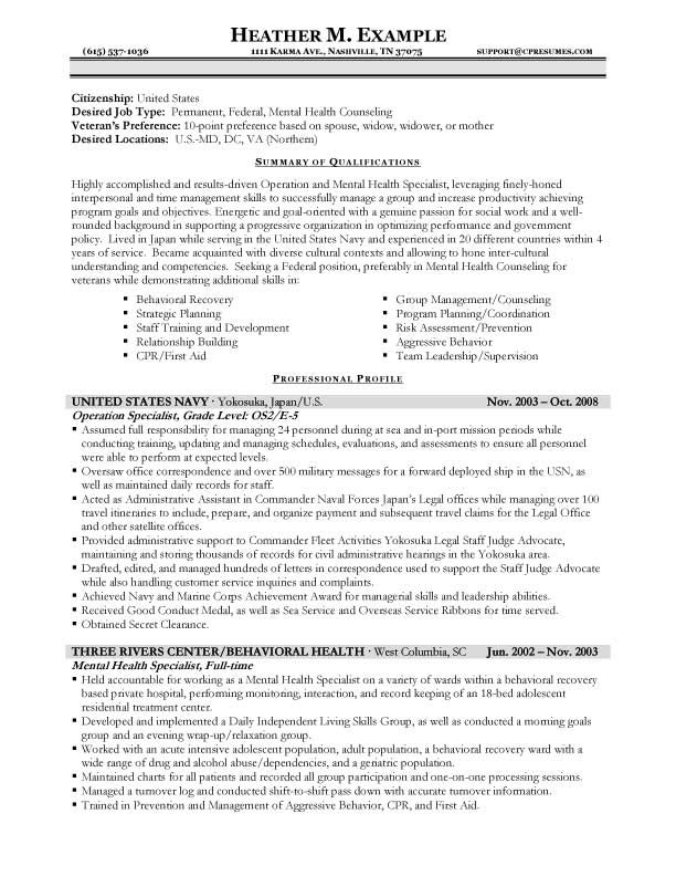 sample federal government resume format