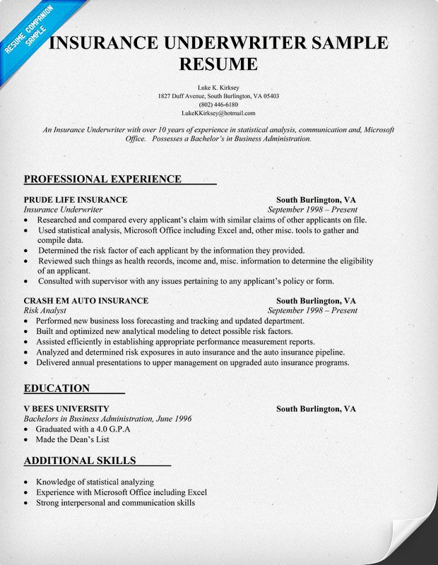 commercial underwriter resume examples