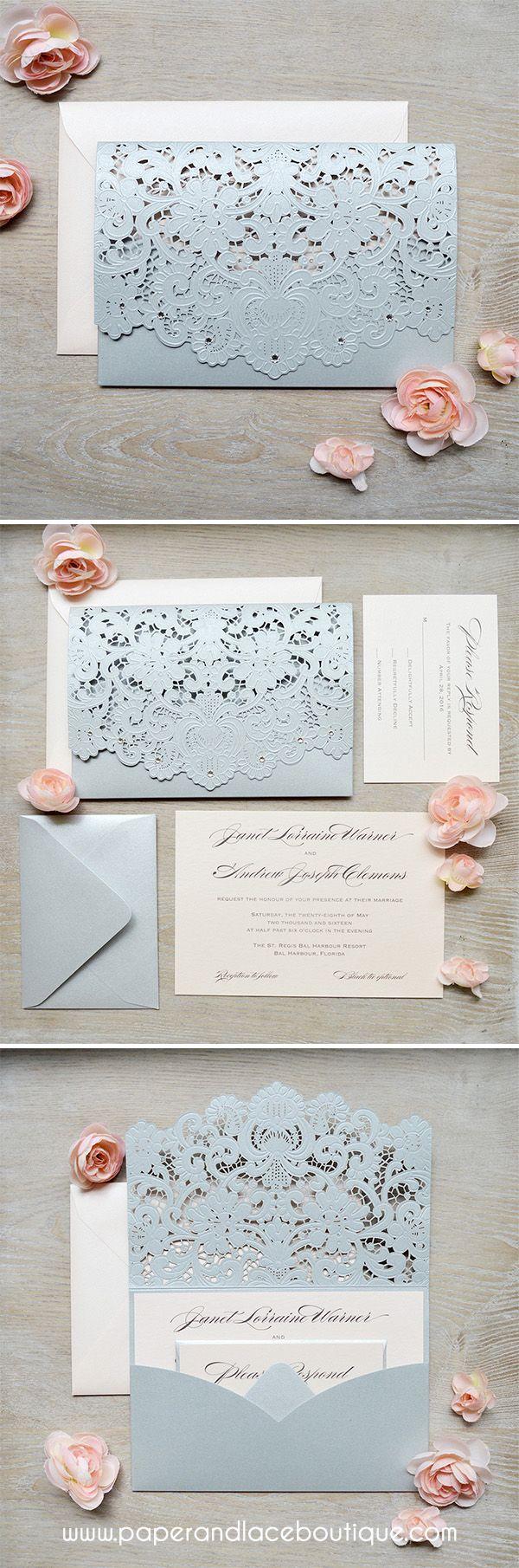 wedding invitations wedding stationery Silver and Blush Laser Cut Wedding Invitations
