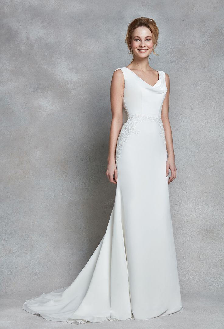 heidi hudsons wedding dresses cowl neck wedding dress Jolie It doesn t get more sophisticated than this chiffon bridal gown Soft cowl detailing a delicate button back and intricate lace appliques give way