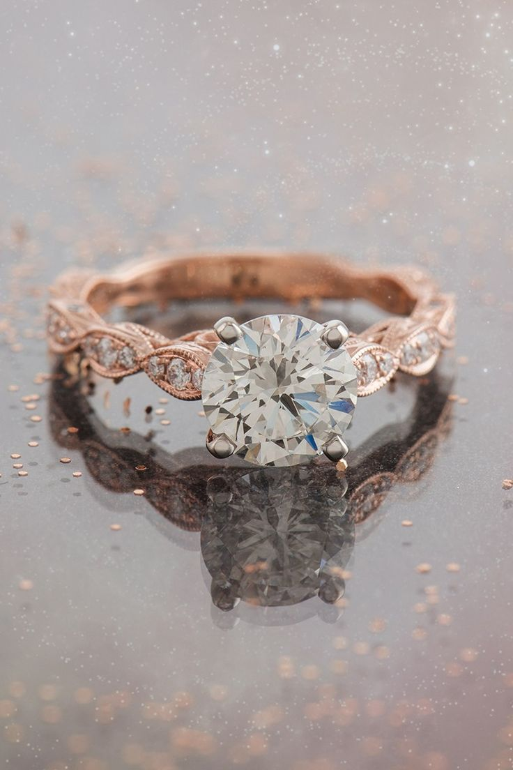 rose gold engagement rose gold wedding rings Rose gold engagement ring with cosmic beauty
