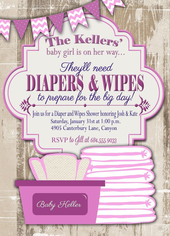 Baby Shower Invitation, Diaper and Wipes Baby Shower